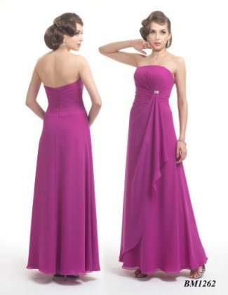 BM1262 chiffon bridesmaid dress in fuschia