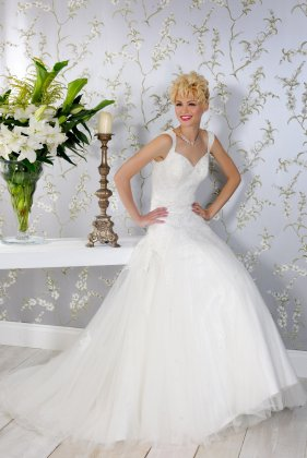 Ebony tulle wedding dress with straps - front