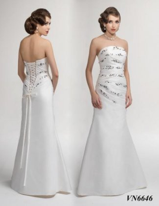 Wedding dress by Venus VN6646 Front & Back