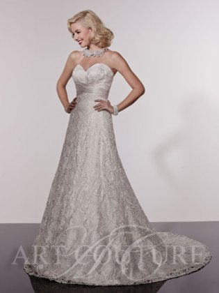 Sarah lace wedding dress front - with additional underskirt